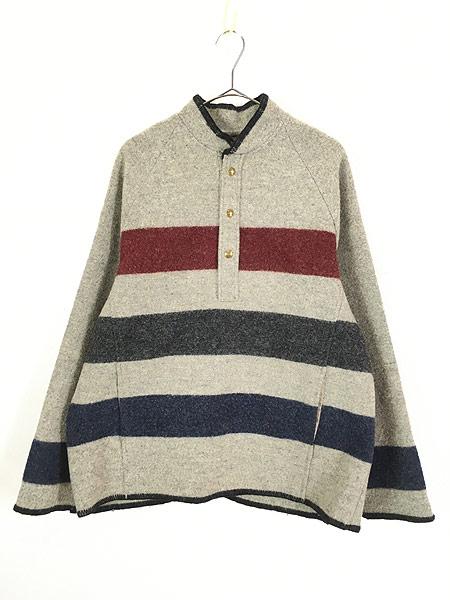 [1] 古着 70s USA製  WoolRich マルチ ボーダー プルオーバー ブランケット ウール ジャケット L 古着