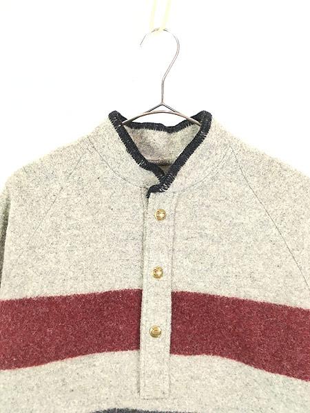 [2] 古着 70s USA製  WoolRich マルチ ボーダー プルオーバー ブランケット ウール ジャケット L 古着