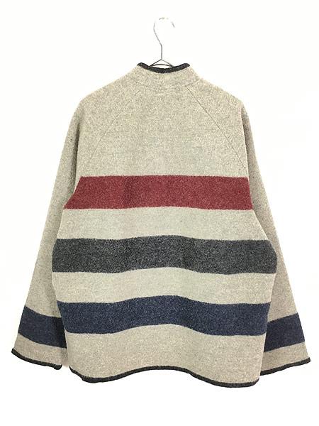[4] 古着 70s USA製  WoolRich マルチ ボーダー プルオーバー ブランケット ウール ジャケット L 古着