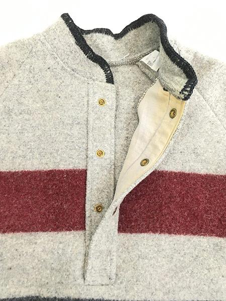 [6] 古着 70s USA製  WoolRich マルチ ボーダー プルオーバー ブランケット ウール ジャケット L 古着