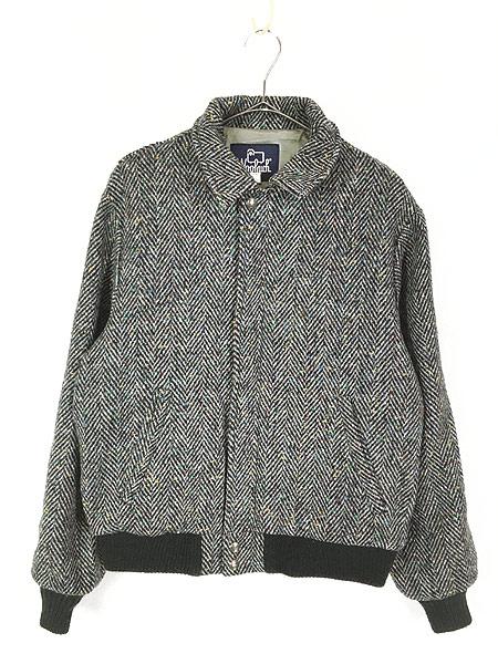 [1] 古着 80s USA製 WoolRich ヘリンボーン カラフル ネップ ウール ジャケット ブルゾン M 古着