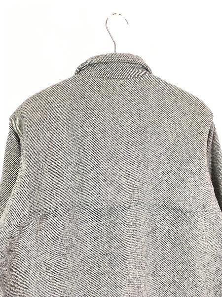 [5] 古着 80s USA製 WoolRich ゴマ塩 ストライプ 4ポケット ウール マッキーノ ジャケット L位 古着