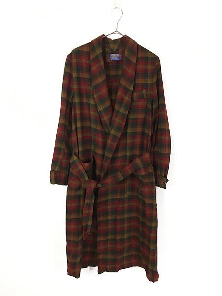 [1] 古着 60s Pendleton 好配色 チェック ショール カラー ウール ガウン コート 羽織 M 古着