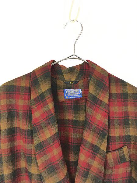 [2] 古着 60s Pendleton 好配色 チェック ショール カラー ウール ガウン コート 羽織 M 古着