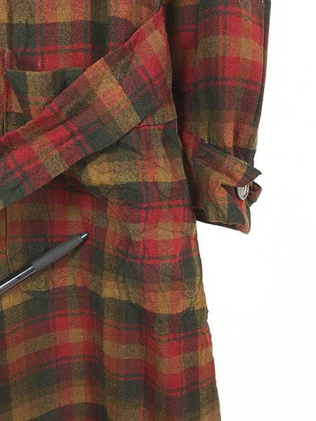 [3] 古着 60s Pendleton 好配色 チェック ショール カラー ウール ガウン コート 羽織 M 古着