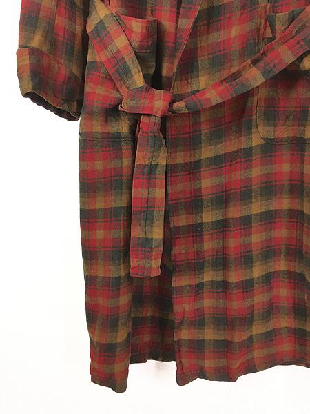 [4] 古着 60s Pendleton 好配色 チェック ショール カラー ウール ガウン コート 羽織 M 古着