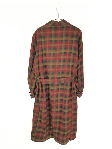 [5] 古着 60s Pendleton 好配色 チェック ショール カラー ウール ガウン コート 羽織 M 古着