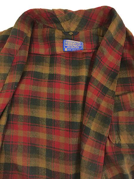 [7] 古着 60s Pendleton 好配色 チェック ショール カラー ウール ガウン コート 羽織 M 古着