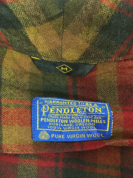 [8] 古着 60s Pendleton 好配色 チェック ショール カラー ウール ガウン コート 羽織 M 古着