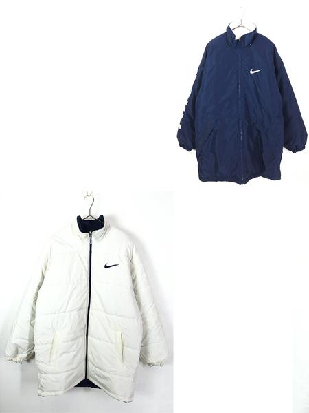 [1] 古着 90s NIKE BIG スウォッシュ デザイン リバーシブル パデット ジャケット M 古着