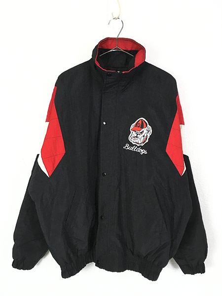 [1] 古着 90s STARTER製 Georgia Bulldogs 両面 パデット ナイロン ジャケット L位 古着