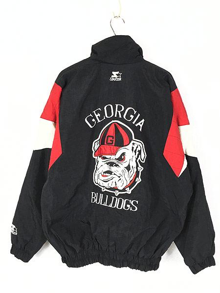 [3] 古着 90s STARTER製 Georgia Bulldogs 両面 パデット ナイロン ジャケット L位 古着