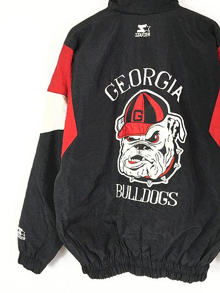 [4] 古着 90s STARTER製 Georgia Bulldogs 両面 パデット ナイロン ジャケット L位 古着