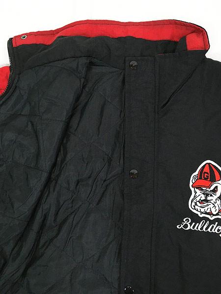 [6] 古着 90s STARTER製 Georgia Bulldogs 両面 パデット ナイロン ジャケット L位 古着