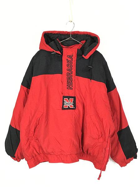 [1] 古着 90s STARTER製 NU HUSKERS ハスカーズ 2way パデット ナイロン ジャケット XL 古着