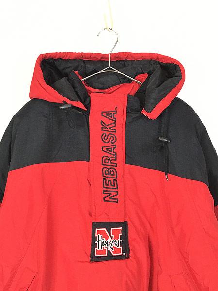 [2] 古着 90s STARTER製 NU HUSKERS ハスカーズ 2way パデット ナイロン ジャケット XL 古着
