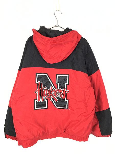 [4] 古着 90s STARTER製 NU HUSKERS ハスカーズ 2way パデット ナイロン ジャケット XL 古着