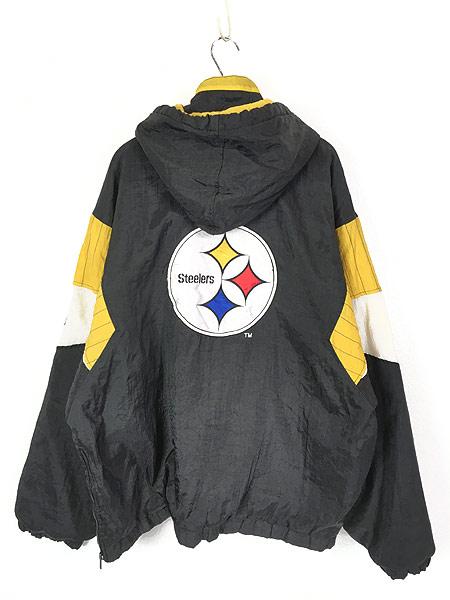 [4] 古着 90s STARTER製 NFL Steelers パデット フーデッド ナイロン ジャケット XL 古着