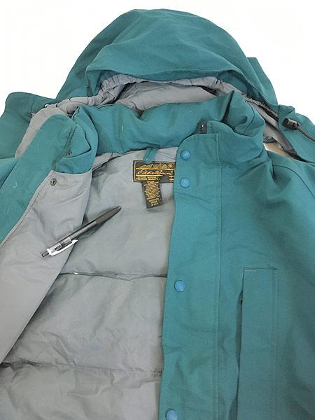 [6] 古着 80s USA製 Eddie Bauer 黒タグ 2way フーデッド ダウン ジャケット コート XL 古着