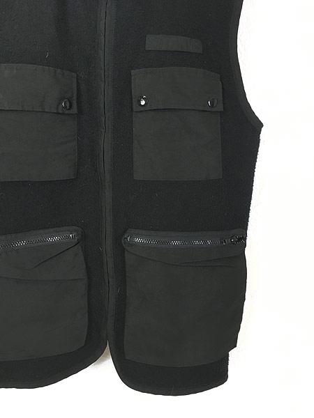 [3] 古着 90s VITTADINI 軽量 ブラック フリース スタンドカラー ベスト オールブラック S 古着