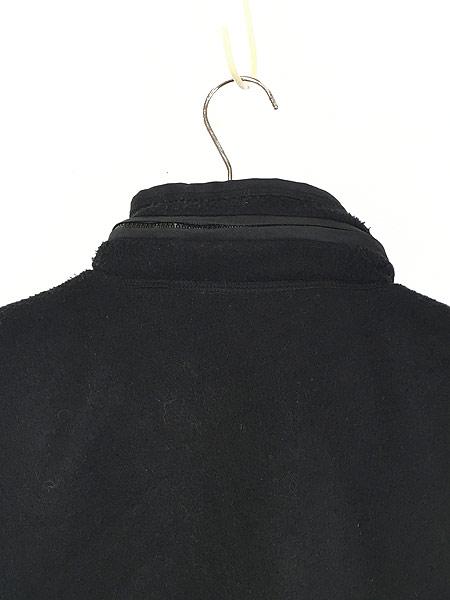 [5] 古着 90s VITTADINI 軽量 ブラック フリース スタンドカラー ベスト オールブラック S 古着
