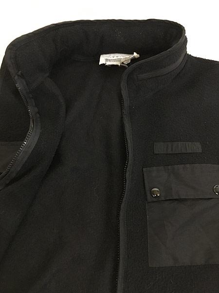 [7] 古着 90s VITTADINI 軽量 ブラック フリース スタンドカラー ベスト オールブラック S 古着