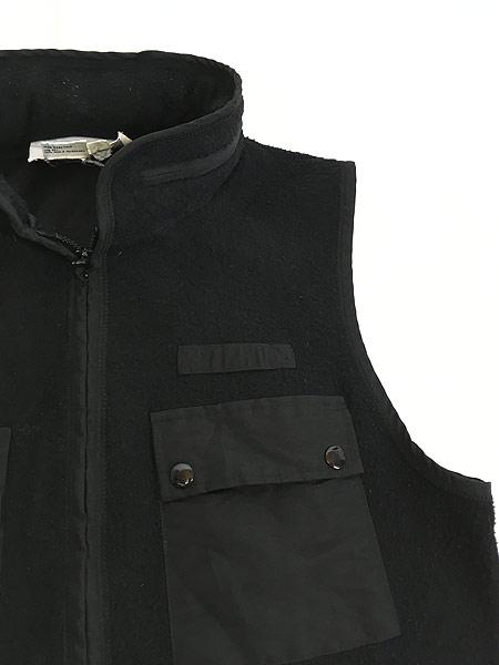 [8] 古着 90s VITTADINI 軽量 ブラック フリース スタンドカラー ベスト オールブラック S 古着