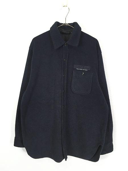 [1] 古着 90s DKNY Techsystem 3Dロゴ ヘビー フリース シャツ ジャケット L 古着
