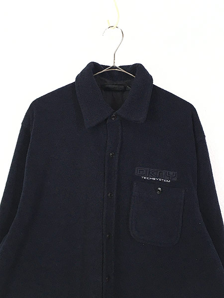 [2] 古着 90s DKNY Techsystem 3Dロゴ ヘビー フリース シャツ ジャケット L 古着