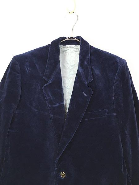 [2] 古着 80s Giorgio Sant'Angelo 光沢 ネイビー ベルベット ベロア テーラード ジャケット 40位 古着