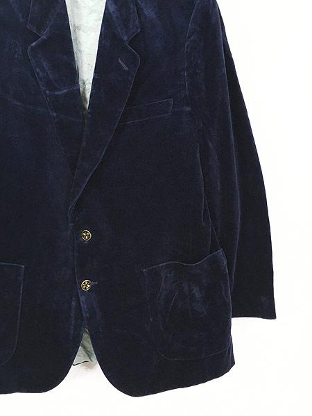 [3] 古着 80s Giorgio Sant'Angelo 光沢 ネイビー ベルベット ベロア テーラード ジャケット 40位 古着