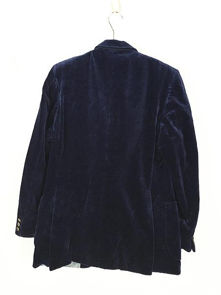 [4] 古着 80s Giorgio Sant'Angelo 光沢 ネイビー ベルベット ベロア テーラード ジャケット 40位 古着