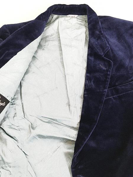 [7] 古着 80s Giorgio Sant'Angelo 光沢 ネイビー ベルベット ベロア テーラード ジャケット 40位 古着