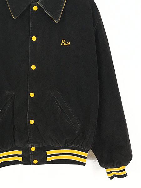 [3] 古着 70s USA製 Birdie 「Ford」 刺しゅう パデット ブラック コーデュロイ スタジャン M 古着