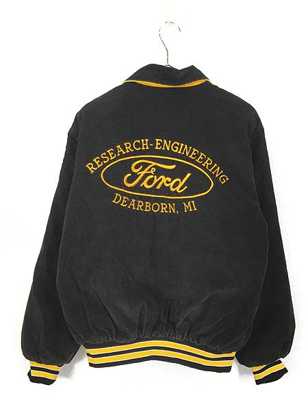[4] 古着 70s USA製 Birdie 「Ford」 刺しゅう パデット ブラック コーデュロイ スタジャン M 古着