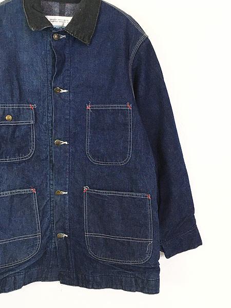 [3] 古着 70s Sears 濃紺 デニム ブランケット ワーク カバーオール ジャケット L 美品!! 古着