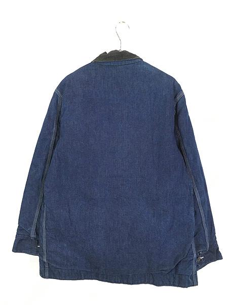 [4] 古着 70s Sears 濃紺 デニム ブランケット ワーク カバーオール ジャケット L 美品!! 古着