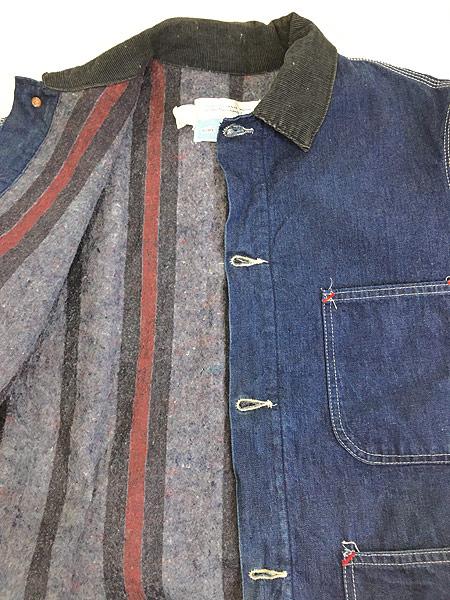 [6] 古着 70s Sears 濃紺 デニム ブランケット ワーク カバーオール ジャケット L 美品!! 古着