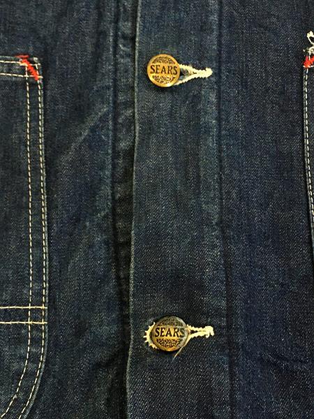 [7] 古着 70s Sears 濃紺 デニム ブランケット ワーク カバーオール ジャケット L 美品!! 古着