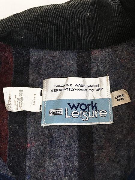 [8] 古着 70s Sears 濃紺 デニム ブランケット ワーク カバーオール ジャケット L 美品!! 古着