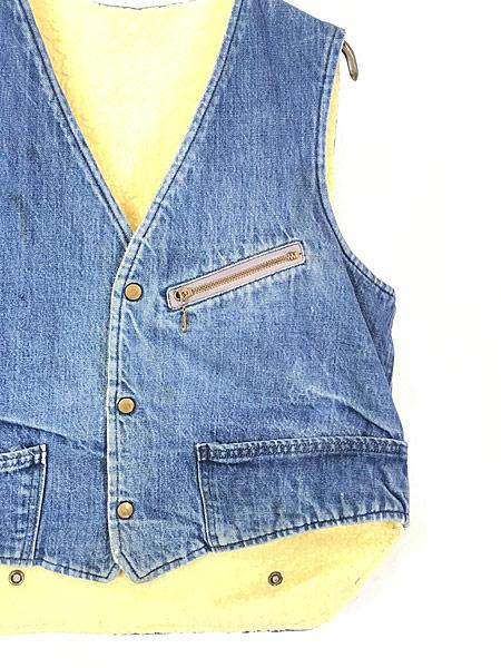 [3] 古着 60s Carter's デニム × ボア リバーシブル ワーク ベスト スナップボタン L 古着
