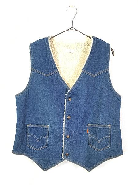 [1] 古着 70s USA製 Levi's ウエスタンヨーク デニム ボア ベスト スナップボタン L 古着