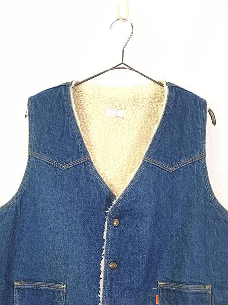 [2] 古着 70s USA製 Levi's ウエスタンヨーク デニム ボア ベスト スナップボタン L 古着