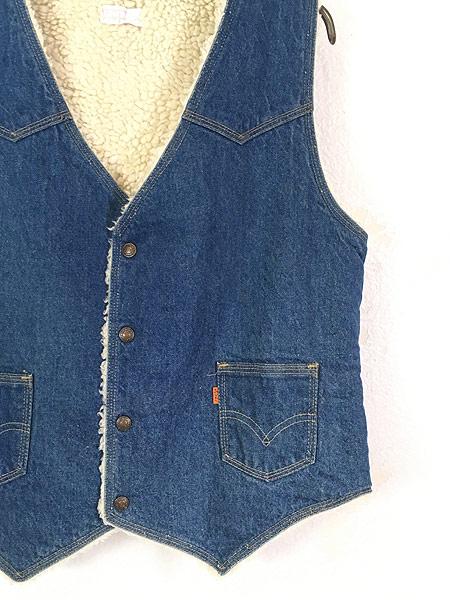 [3] 古着 70s USA製 Levi's ウエスタンヨーク デニム ボア ベスト スナップボタン L 古着