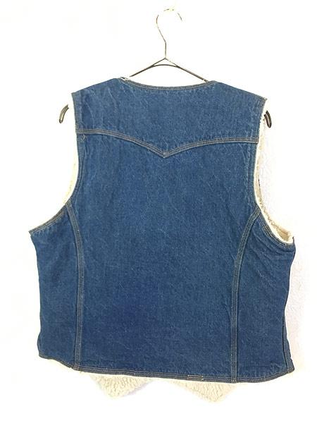 [4] 古着 70s USA製 Levi's ウエスタンヨーク デニム ボア ベスト スナップボタン L 古着