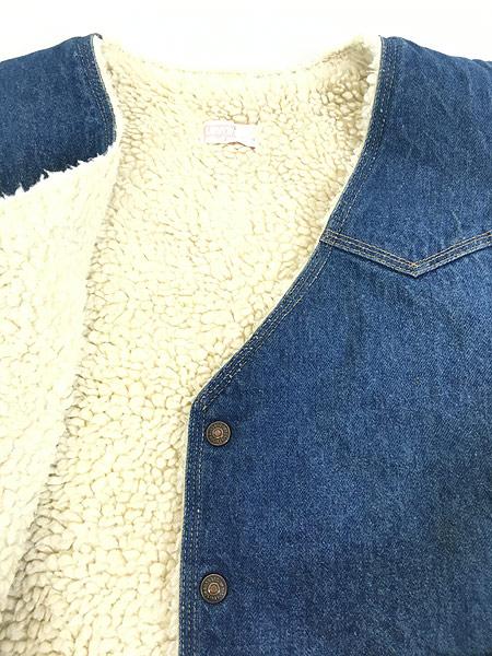 [5] 古着 70s USA製 Levi's ウエスタンヨーク デニム ボア ベスト スナップボタン L 古着