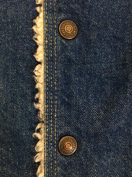 [6] 古着 70s USA製 Levi's ウエスタンヨーク デニム ボア ベスト スナップボタン L 古着