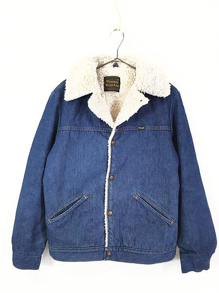[1] 古着 70s USA製 Wrangler 「Wrange Coat」 濃紺 デニム ボア ランチ ジャケット M 古着