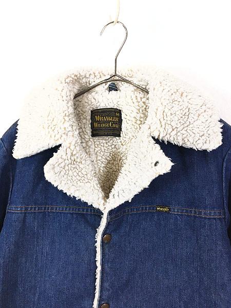 [2] 古着 70s USA製 Wrangler 「Wrange Coat」 濃紺 デニム ボア ランチ ジャケット M 古着