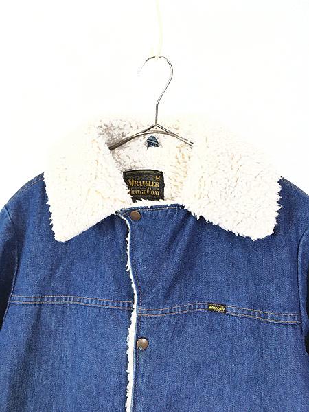[3] 古着 70s USA製 Wrangler 「Wrange Coat」 濃紺 デニム ボア ランチ ジャケット M 古着